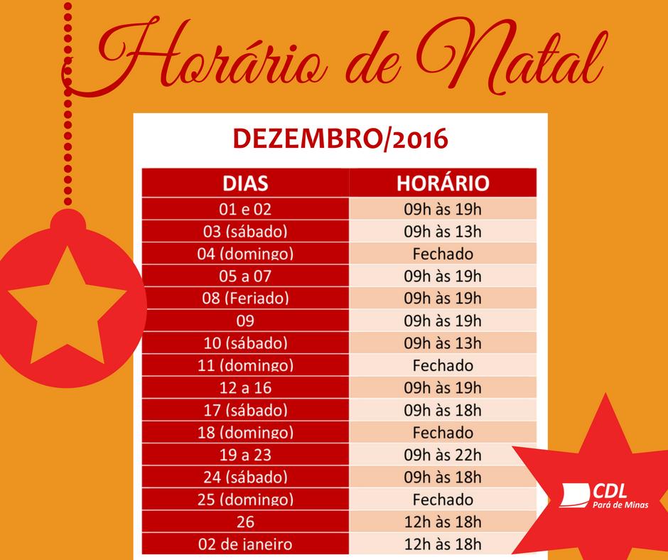HORÁRIO DE NATAL!