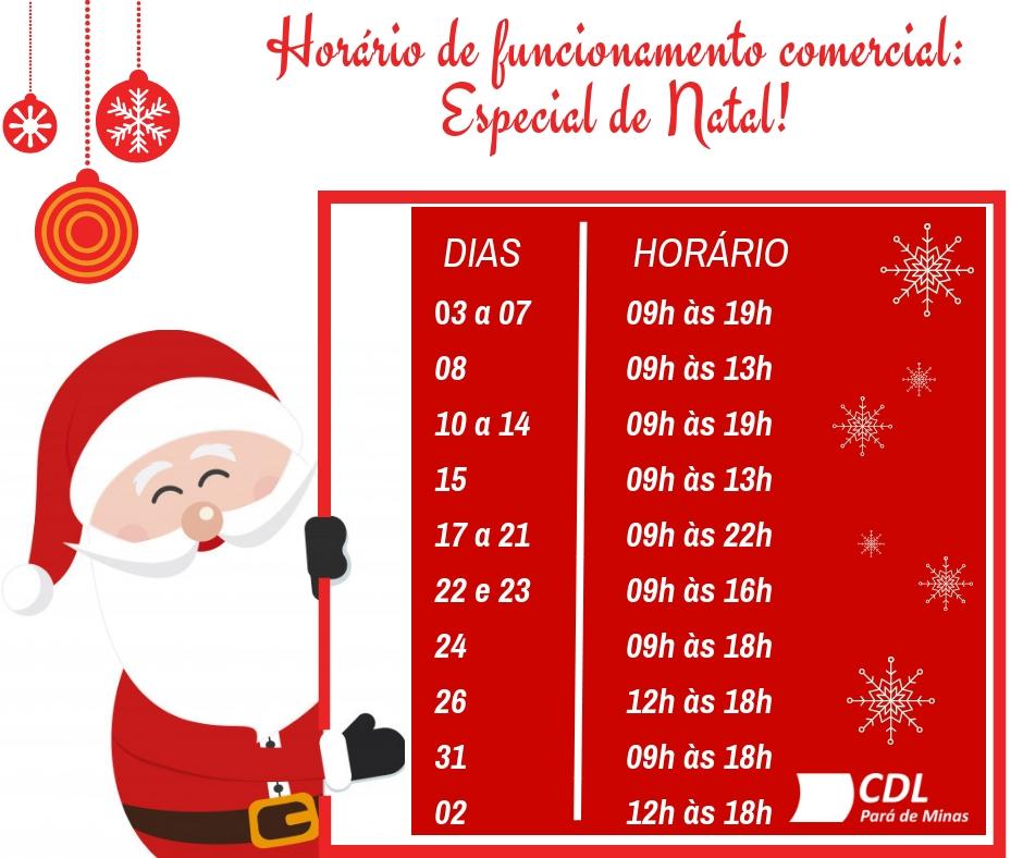 HORÁRIO DO COMÉRCIO: ESPECIAL DE NATAL!!!