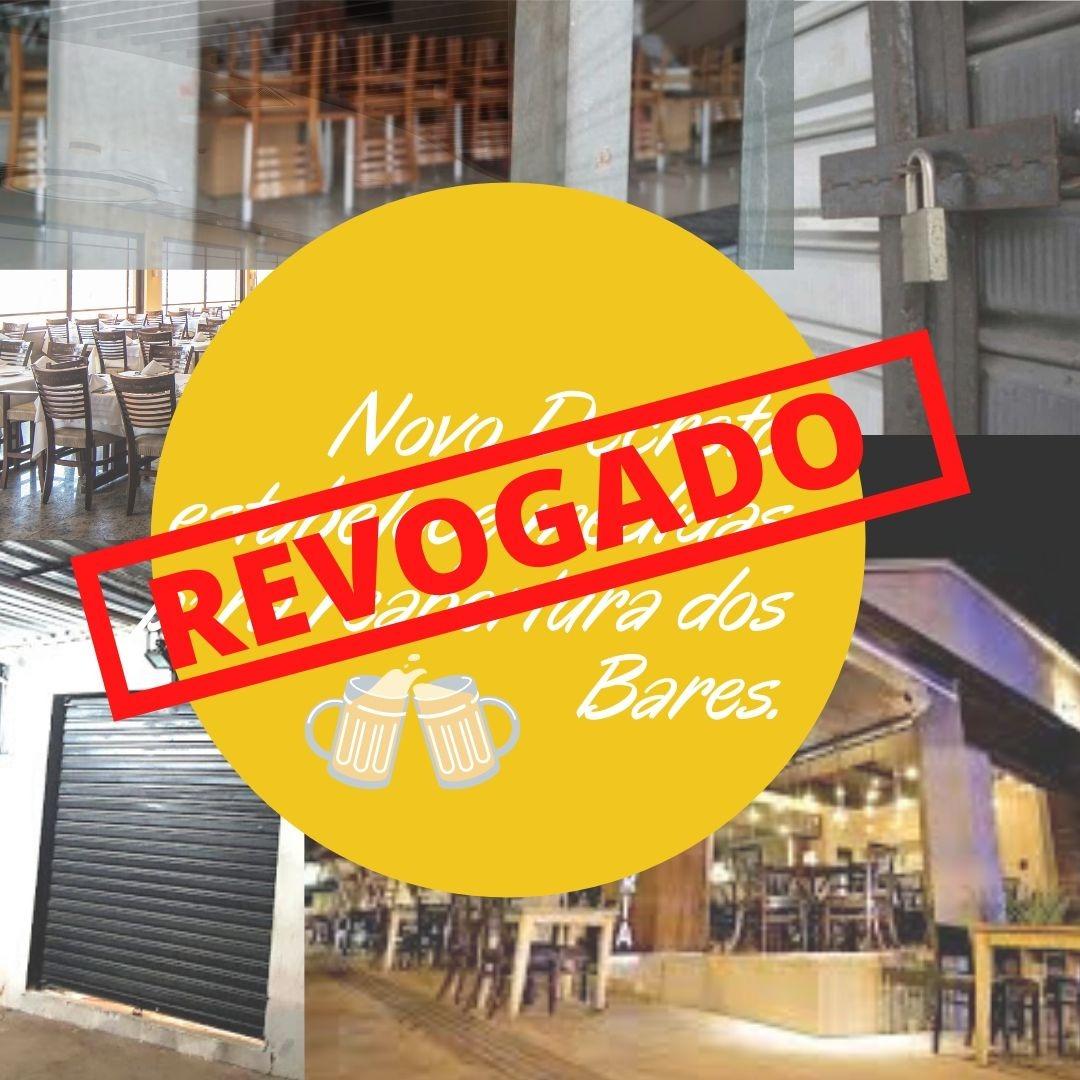 Revogado decreto sobre flexibilização de abertura de bares em Pará de Minas
