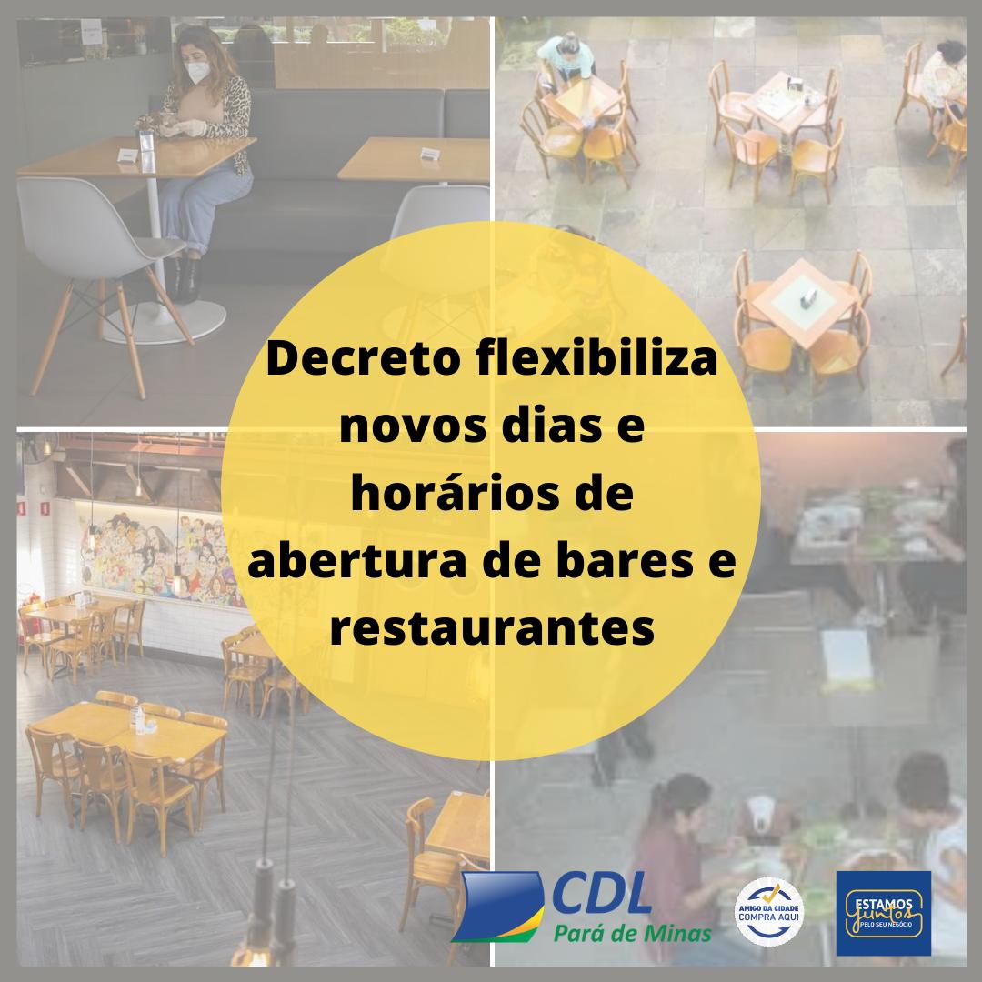 Decreto flexibiliza novos dias e horários de abertura de bares e restaurantes